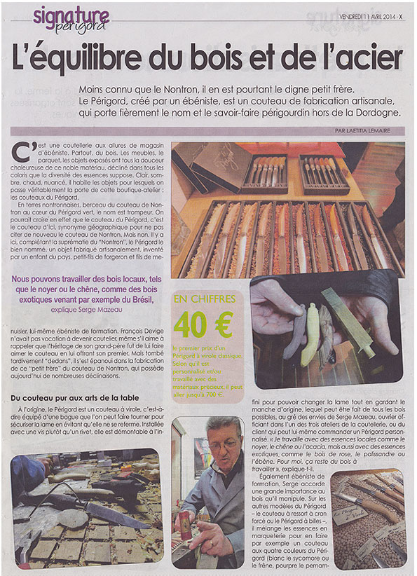 Article Signature Coutellerie le Périgord